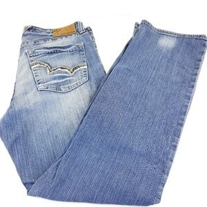 Big Star Pioneer Buckle Blue Jeans Boot Cut Size 3